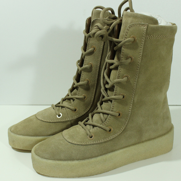 f91df35237c45 Yeezy Season 4 Oil Crepe Boots Kanye West Taupe 40
